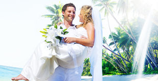 Marriage Couple Beach Wedding Happiness Concept Royalty Free Stock Photos