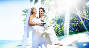 Marriage Couple Beach Wedding Happiness Concept Royalty Free Stock Photo