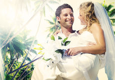 Marriage Couple Beach Wedding Happiness Concept Stock Images