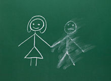 Marriage couple drawing on chalk board divorce break up smudged Royalty Free Stock Photos