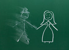 Marriage couple drawing on chalk board divorce break up smudged. Couple drawing on chalk board Royalty Free Stock Image