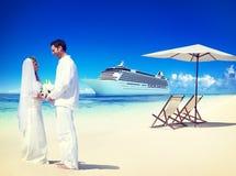 Marriage Couple Honeymoon Beach Summer Concept.  Stock Photo