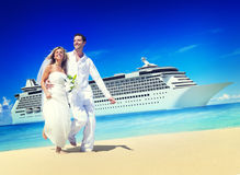Marriage Couple Honeymoon Beach Summer Concept Stock Photos