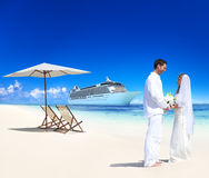 Marriage Couple Honeymoon Beach Summer Concept.  Royalty Free Stock Photography