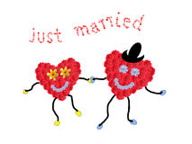 Marriage couple - two smiling flower hearts holding hands, text. Just married, isolated on white stock image