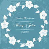 Marriage design template with custom names in round frame  hibiscus flowers. Vector illustration. Stock Photos