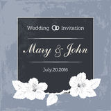 Marriage design template with custom names in square frame  flowers. Vector illustration. Stock Photography