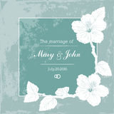 Marriage design template with custom names in square frame  flowers. Vector illustration. Royalty Free Stock Image
