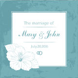 Marriage design template with custom names in square frame  flowers. Vector illustration. Royalty Free Stock Photos