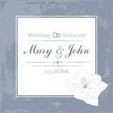 Marriage design template with custom names in square frame  flowers. Vector illustration. Marriage design template with custom names in square floral frame Stock Photography