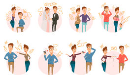 Marriage Divorce Icons Collection Royalty Free Stock Photos