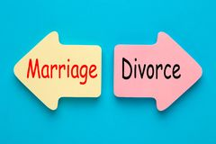 Marriage and Divorce. Marriage versus Divorce written on paper arrows. Change in your relationship stock photo