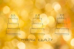Marriage equality wedding cakes with heterosexual and homosexual Royalty Free Stock Photography
