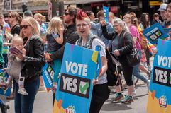 Marriage Equality October 2017. Adelaide, AU - October 22, 2017: Hundreds of supporters of Marriage Equality gather at Adelaide`s Old Parliament House to march Stock Photo
