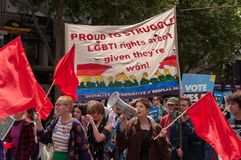 Marriage Equality October 2017. Adelaide, AU - October 22, 2017: Hundreds of supporters of Marriage Equality gather at Adelaide`s Old Parliament House to march Royalty Free Stock Images