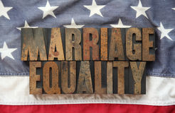 Marriage equality on old American flag Stock Photos