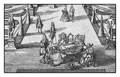 Marriage feast in garden, XVII century Royalty Free Stock Photography
