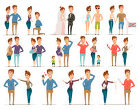 Marriage Flat Characters Set Stock Image