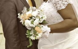 THE MARRIAGE AND THE FLOWER BOUQUET Stock Photo
