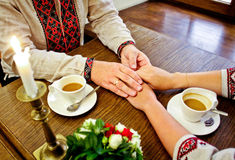 Marriage. Gentle touch of hands Stock Images