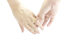 Marriage with golden ring in hand Royalty Free Stock Photo