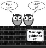 Marriage Guidance. Monochrome comical marriage guidance sign on brick wall isolated on white background Royalty Free Stock Photo