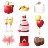 Marriage icons. Love and marriage icons set stock illustration