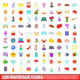 100 marriage icons set, cartoon style. 100 marriage icons set in cartoon style for any design illustration Stock Photography