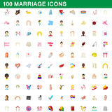 100 marriage icons set, cartoon style Stock Photos