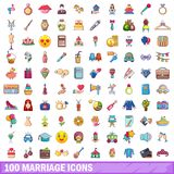 100 marriage icons set, cartoon style. 100 marriage icons set. Cartoon illustration of 100 marriage vector icons isolated on white background Royalty Free Stock Image