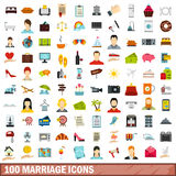 100 marriage icons set, flat style Royalty Free Stock Photo