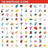 100 marriage icons set, isometric 3d style. 100 marriage icons set in isometric 3d style for any design illustration royalty free illustration
