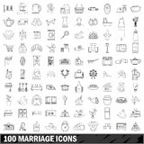 100 marriage icons set, outline style. 100 marriage icons set in outline style for any design vector illustration royalty free illustration