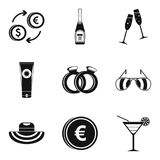 Marriage icons set, simple style Stock Photo