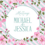 Marriage invitation card. Marriage invitation card with couple names sign placed on radial border and cherry flowers. Vector illustration royalty free illustration