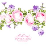 The Marriage invitation card. The Marriage invitation with flowers over white paper. Vector illustration Stock Photo