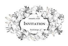 The marriage invitation card. Romantic event floral design. Card with blooming lily. Vector illustration royalty free illustration