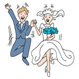Marriage Leap. An image of a couple taking a leap into marriage stock illustration