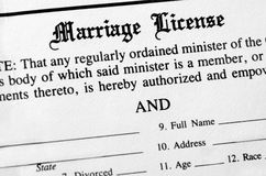 Marriage License. Closeup of Marriage License document form to be filled out and filed Stock Images