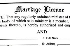 Marriage License Form Royalty Free Stock Photo