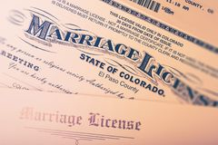 Marriage License Stock Photo