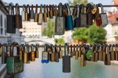 Marriage locks rusting Stock Photo