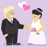 Marriage , a man and a woman standing at the altar , cartoon characters Stock Images