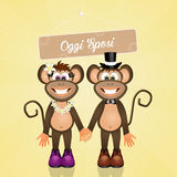 Marriage of monkey Royalty Free Stock Image