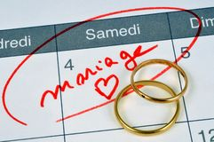 Marriage noted in French on a calendar stock images