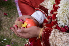 During a marriage pooja. Picture of a hindu marriage ceremony Royalty Free Stock Photos
