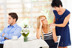 Marriage problem. Caring mother standing by her daughter when she has marriage problem Stock Photo