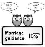Marriage Problems. Monochrome comical marriage guidance sign isolated on white background Royalty Free Stock Photography