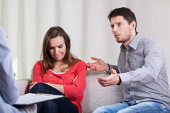 Marriage problems at psychotherapy Royalty Free Stock Image