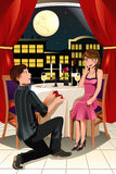 Marriage proposal. A vector illustration of a girl getting a marriage proposal from her boyfriend in a restaurant Stock Photos